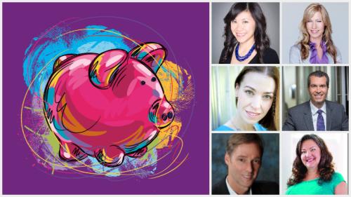 Left to right, top to bottom: Personal Finance piggy bank, Melissa Leong, Kelley Keehn, Kerry Taylor, Dan Bortolotti, David Trahair, and Gail Vaz-Oxlade.